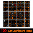 100 Car Dashboard Icons. - Stok Vektör