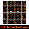 100 Car Dashboard Icons. - Stockvektor