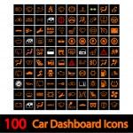 100 Car Dashboard Icons. — Stock Vector