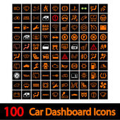 100 Car Dashboard Icons. — Vecteur