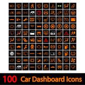 100 araba kontrol paneli simgeleri. — Stok Vektör