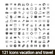 121 icons vacation and travel — Stok Vektör