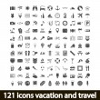 121 icons vacation and travel — Stockvektor