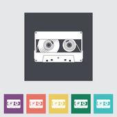 Audiocassette plat één pictogram. — Stockvector