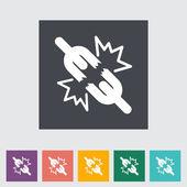 Broken connection flat single icon — Stock Vector