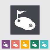 Płaskie pojedyncze ikona golf. — Wektor stockowy