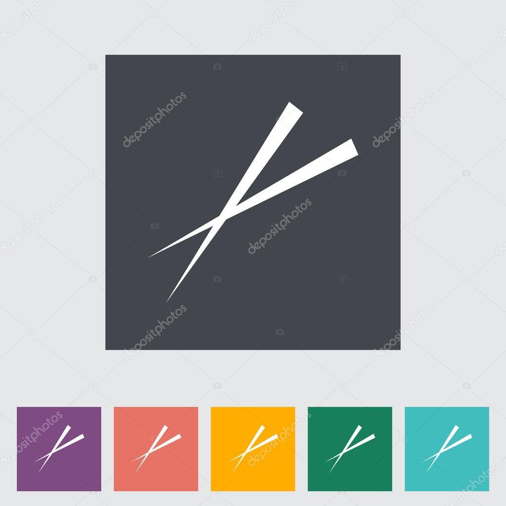 筷子.平的单个图标.矢量图