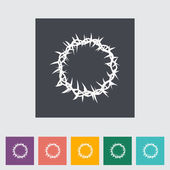 Crown of thorns single flat icon. — Stock Vector