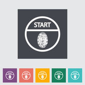 Start-stop button is protected by fingerprint. — Stock Vector