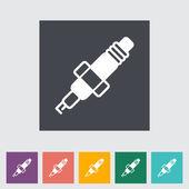 Une bougie unique icône plate. — Vecteur