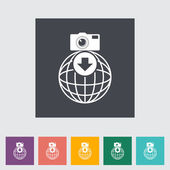 Photo download single flat icon. — Stok Vektör
