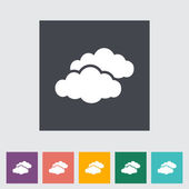 Overcast single flat icon. — Stock Vector