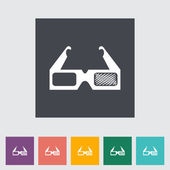3D glasses single flat icon. — Stock Vector
