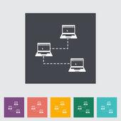 Solo plano icono de computadora red. — Vector de stock