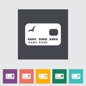 Kredi kartı tek düz simgesi. — Stok Vektör