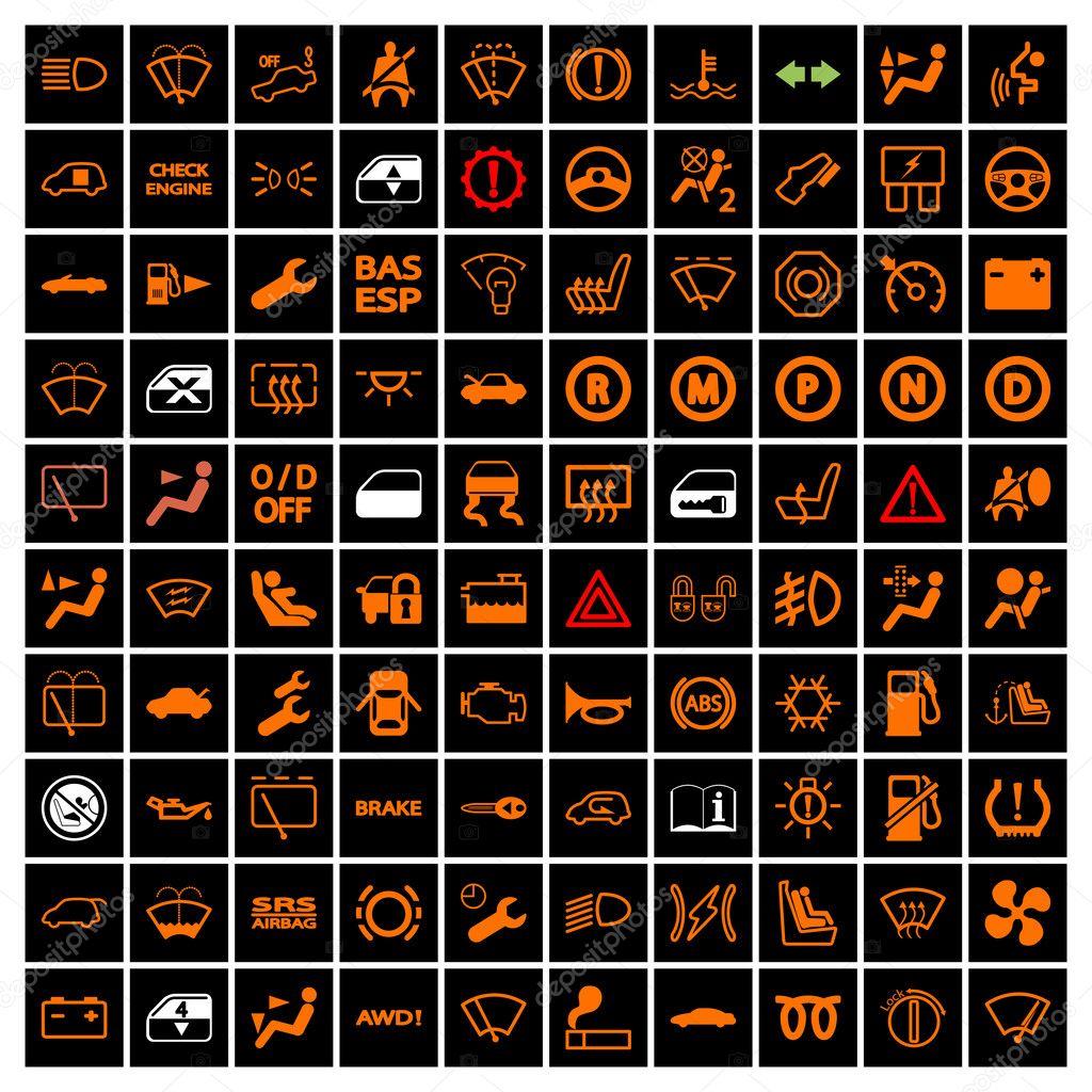 Car Dashboard Icons Stock Vector 169 Leshkasmok 35433753