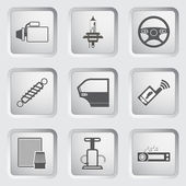 Car part and service icons set. — Stock Vector