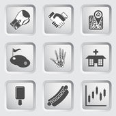 Icons on the buttons for Web Design. Set 8 — Stock Vector