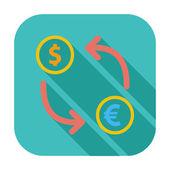 Currency exchange single flat icon. — Stock Vector