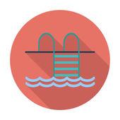 Icono plana piscina. — Vector de stock