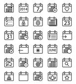 Calendar stroke icons set. — Stock Vector