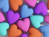 Colored matt hearts — Stock Photo