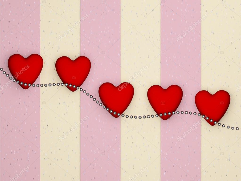 Five red hearts on a striped background — Stockfoto #19459061