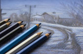 Watercolor pencils and drawing — Foto de Stock