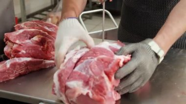 Raw meat. — Stock Video