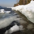 Ice flows on river bank. - Stock Photo