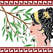 Aphrodite and olive branch — Stock Vector