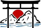 Torii gate and sunrise — Stock Vector