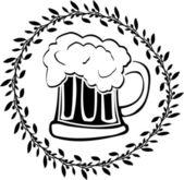 Stencil of glass of beer — Vector de stock