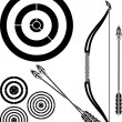 Stencil of bow, arrows and targets - Stock Vector