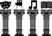 Pedestals of arts — Stock Vector