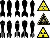 Uppsättning av bomber — Stockvektor