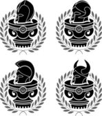 Set of medieval helmets — Stock Vector