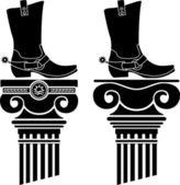 Colonne e stivali con gli speroni — Vettoriale Stock