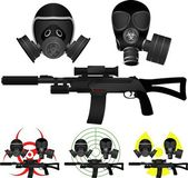 Sniper rifle and gas masks — Stock Vector