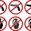 No pistols and grenades — Stock Vector