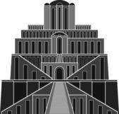 Stencil of ziggurat — Stock Vector