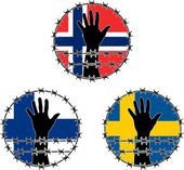 Violation of human rights in Scandinavian — Stock Vector