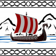 Stencil of viking ship — Stock Vector