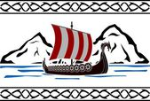 Stencil of viking ship — Stock Vector