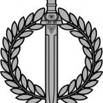 Roman sword with laurel wreath — Stock Vector