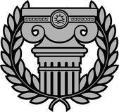 Starożytne jonowych kolumny z wieniec laurowy — Wektor stockowy