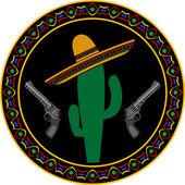 Sombrero, two pistols and cactus — Stock Vector