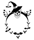 Halloween illustration with skull and bats — Stock Vector