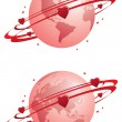 Globe and hearts — Stock Vector