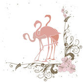 Flamingo and flowers — Stock Vector